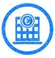euro company building rounded icon rubber stamp vector image
