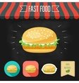 Fish burger icon on a chalkboard Set of icons and vector image