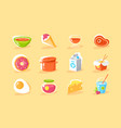 flat food icon set with egg milk donut chinese vector image vector image