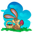 funny bunny with big egg vector image vector image