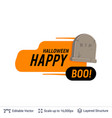 grave monument and halloween text vector image vector image