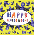 greeting halloween card with cartoon funny bats vector image vector image