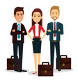 group of businespeople with portfolio teamwork vector image vector image