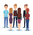 group of young people poses and styles vector image vector image