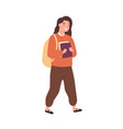 happy girl go to school and carrying pile books vector image