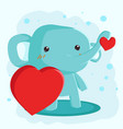happy valentines day with cute elephant vector image