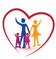 heart with caring family people icon logo vector image vector image