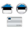Home icon on the Estonia flag vector image vector image