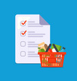 home shopping list assemble a grocery basket vector image vector image