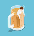 isometric drunk businessman in beer mug vector image vector image