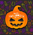 jack-o-lantern pumpkin cutout from paper on a vector image vector image