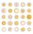 line sun icons set vector image vector image