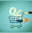 man carries a shopping cart with percentage sign vector image vector image
