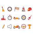 orange race icons set vector image