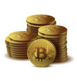 pile of coins bitcoin on white background concept vector image vector image
