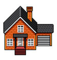 pixel art modern brick house isolated vector image vector image
