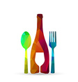Polygonal glass cup fork and spoon