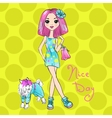 Pop Art cute fashion girl with dog vector image vector image