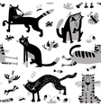 seamless pattern with funny cats vector image
