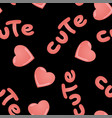 seamless pattern with kawai pink hearts and vector image vector image