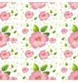 seamless pink hibiscus wallpaper vector image