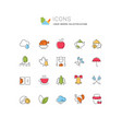 set line icons autumn vector image vector image