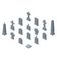 set of gravestones isolated on white background vector image
