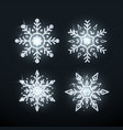 silver snowflake set christmas decoration element vector image vector image