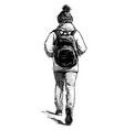 sketch city woman in cap and with backpack