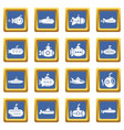 submarine icons set blue square vector image vector image