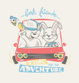 teddy and bunny driving adventure print design vector image vector image