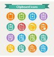 White Clipboard icons set in flat style vector image