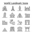 world landmark icon set in thin line style vector image