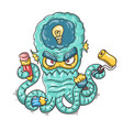 cartoon creative octopus vector image