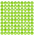 100 business strategy icons set green circle vector image vector image