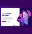 24 7 online delivery banner vector image