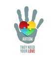 Autism awareness poster template vector image