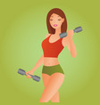 beautiful fitness woman with lifting dumbbells vector image vector image