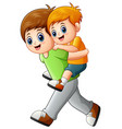 big brother doing piggyback ride younger brother vector image