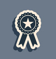 black award medal with star and ribbon icon vector image vector image