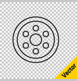 Black line alloy wheel for a car icon isolated on
