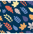 blue autumn background with color leaves seamless vector image vector image