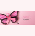 breast cancer awareness pink butterfly wing ribbon vector image vector image