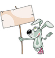 cartoon rabbit standing with a blank banner vector image