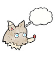 cartoon unhappy wolf with thought bubble vector image vector image