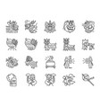chinese lion dance line icon set vector image