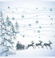 christmas scene santa sleigh card vector image vector image