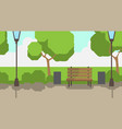 city park wooden bench street lamp green lawn vector image vector image