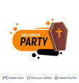 coffin and halloween text vector image