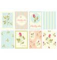 collection of retro cards in shabby chic style vector image vector image